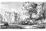 Rembrandt Harmensz. van Rijn (Visit of the three angels to Abraham) Art Poster Print Posters
