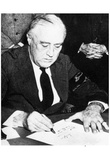 President Franklin D Roosevelt (Signing Declaration of War Against Japan) Poster Print Photo