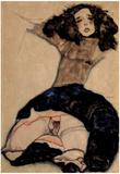 Egon Schiele (Black girls with Beaten Rock) Art Poster Print Prints