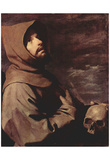 Francisco de Zurbarán (St. Francis meditators with skull) Art Poster Print Poster