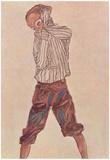Egon Schiele (Boy in striped shirt) Art Poster Print Poster