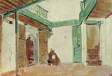 Eugène Ferdinand Victor Delacroix (Moroccan courtyard) Art Poster Print Masterprint