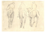 Edgar Germain Hilaire Degas (Three jockeys study of a horseback) Art Poster Print Poster