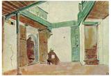 Eugène Ferdinand Victor Delacroix (Moroccan courtyard) Art Poster Print Prints