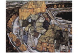 Egon Schiele (The houses arc or island city) Art Poster Print Posters