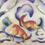 Franz Marc (Deer in snow) Art Poster Print Masterprint