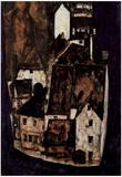 Egon Schiele (Dead city or town on the blue river) Art Poster Print Prints
