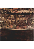 Egon Schiele (The small town of II (view Krumau of Moldova)) Art Poster Print Posters