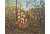 Henri Rousseau (Battle between Tiger and Buffalo) Art Poster Print Prints