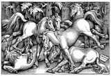 Hans Baldung Grien (Stallions while fighting in the midst of a group of wild horses in the forest) Prints