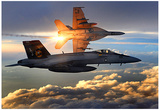 F/A-18 Super Hornets (Flying in Sunlight) Photo Poster Prints