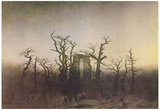 Caspar David Friedrich (Abbey in Eichwald (monk funeral in oak)) Art Poster Print Print
