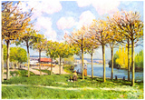 Alfred Sisley The Seine in Bougival 2 Art Print Poster Prints