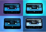 Audio Cassette Tapes Blue Pop Art Print Poster Masterprint