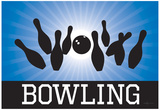 Bowling Blue Sports Poster Print Prints