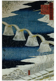 Utagawa Hiroshige (The Brocade Bridge in Snow) Art Poster Print Posters