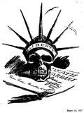 The Daily Worker Cartoon (Case of Sacco &Vanzetti, Liberty Skull) Art Poster Print Masterprint