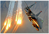 F-15E Strike Eagle (Launching Heat Decoys) Art Poster Print Poster