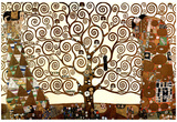 Gustav Klimt The Tree of Life in Brown and Gold Art Poster Print Poster