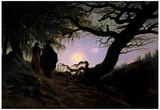 Caspar David Friedrich (Men and women considering the moon) Art Poster Print Prints
