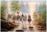 Civil War Grey Soldier On Horses Art Print Poster Photo