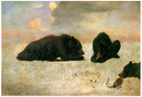 Albert Bierstadt Grizzly Bears Art Print Poster Prints