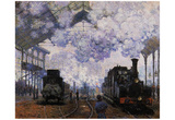 Claude Monet (La Gare St-Lazare, Arrival of a Train) Art Poster Print Print
