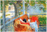 Childe Hassam Couch and Veranda at Cos Cob Art Print Poster Posters