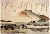 Katsushika Hokusai Mountain Landscape with a Bridge Art Poster Print Photo