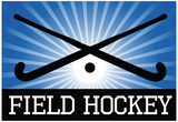Field Hockey Crossed Sticks Blue Sports Poster Print Prints