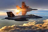 F/A-18 Super Hornets (Flying in Sunlight) Art Poster Print Masterprint