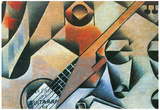 Juan Gris Banjo Guitar and Glasses Cubism Art Print Poster Photo