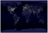 Earth By Night (Satellite View) Art Poster Print Reprodukcje