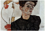 Egon Schiele (Self-portrait with fruit Lampion) Art Poster Print Posters