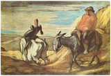 Honoré Daumier (Sancho Panza and Don Quixote in the Mountains) Art Poster Print Prints