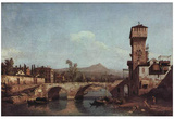 Canaletto (I) (Capriccio Veneto, river, bridge and medieval city gate) Art Poster Print Prints