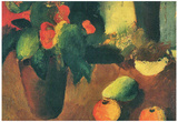 August Macke Still Life with Begonia Apples and Pear Art Print Poster Posters