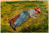 Camille Pissarro Peasant Woman Lying in the Grass Art Print Poster Posters