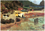 Albert Bierstadt Fishing Boats on Capri Art Print Poster Prints