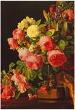 Ferdinand Waldmuller Still Life with Roses Art Print Poster Print