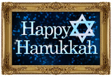 Happy Hanukkah Faux Framed Holiday Poster Print