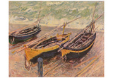 Claude Monet (Barken of Etretat (Three fishing boats)) Art Poster Print Posters