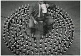 Man Drinking in Circle of Beers 1956 Archival Photo Poster Print Prints