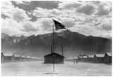 Japanese-American Internment Center (Cabins, Flag) Art Poster Print Posters