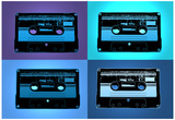 Audio Cassette Tapes Blue Pop Art Print Poster Photo