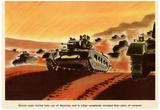 British Tanks WWII War Propaganda Art Print Poster Reprodukcje