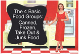 4 Basic Food Groups Canned Frozen Take Out Junk Funny Art Poster Print Posters
