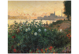 Claude Monet (Flowering Riverbank, Argenteuil) Art Poster Print Posters