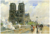 Childe Hassam Cathedral of Notre Dame 1888 Art Print Poster Photo