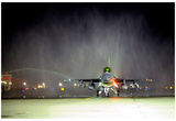 F-16 Fighting Falcon (Touch Down at Night) Art Poster Print Prints